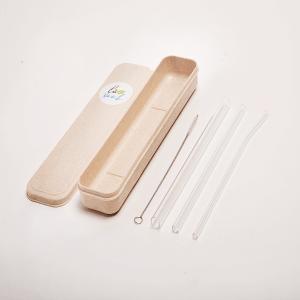 Hộp 3 ống hút thủy tinh Glass Straws (1 ống Trà sữa + 2 ống Cafe)