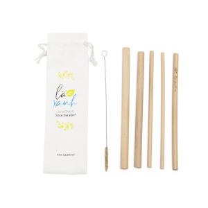 Túi Canvas 5 ống hút tre Bamboo Straws (2 ống Trà sữa + 3 ống Cafe)