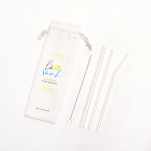 Bag Canvas of 3  Glass Straws (1 tube of Milk Tea + 2 tubes of Cafe)