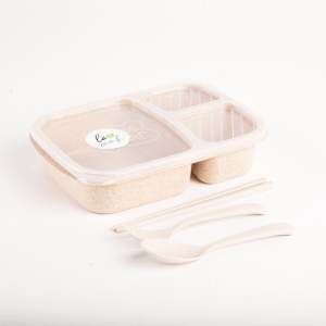 wheat flour office lunch box + Fork Spoon Set ( Brown)