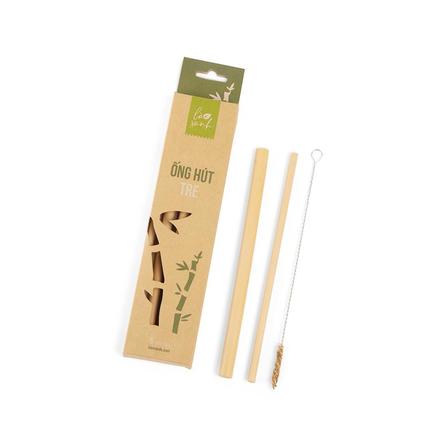 Hộp 5 ống hút tre Bamboo Straws (2 ống Trà sữa + 3 ống Cafe)