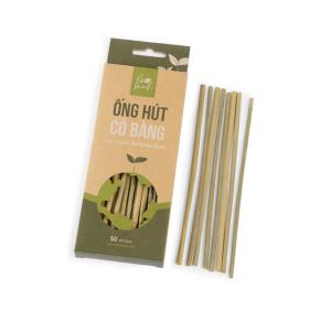 Hộp 50 ống hút cỏ bàng Grass Straws (ống Cafe)