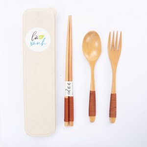 Set Japanese Style Wooden Fork Spoon